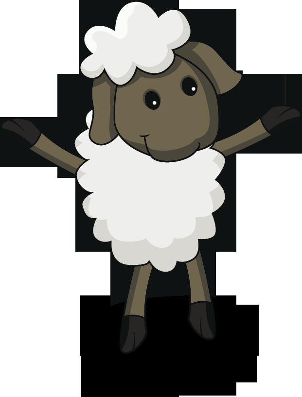 Ovejita en fondo celeste. Clipart sheep eid ul adha