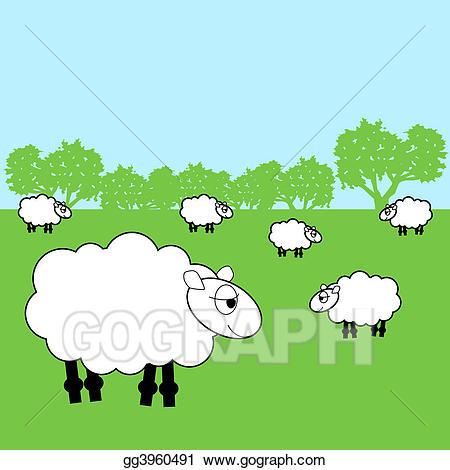 Stock illustration illustrations gg. Sheep clipart field