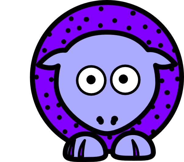 Purple with black polka. Sheep clipart body