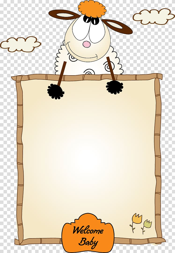 Lamb clipart border. Sheep illustration frame cartoon