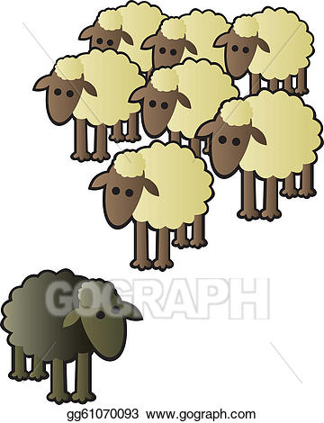 Vector illustration black and. Clipart sheep herd sheep