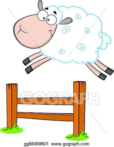 Vector art white jumping. Lamb clipart sheep jump