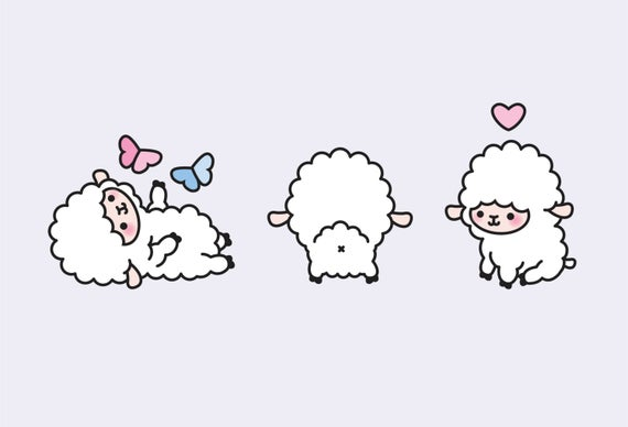 Premium kawaii lambs cute. Lamb clipart vector