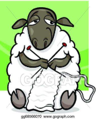 Clipart sheep knitting. Eps illustration cartoon