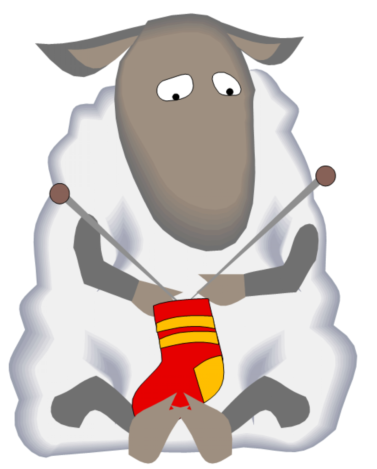 Clipart sheep knitting. Cropped flipped left to