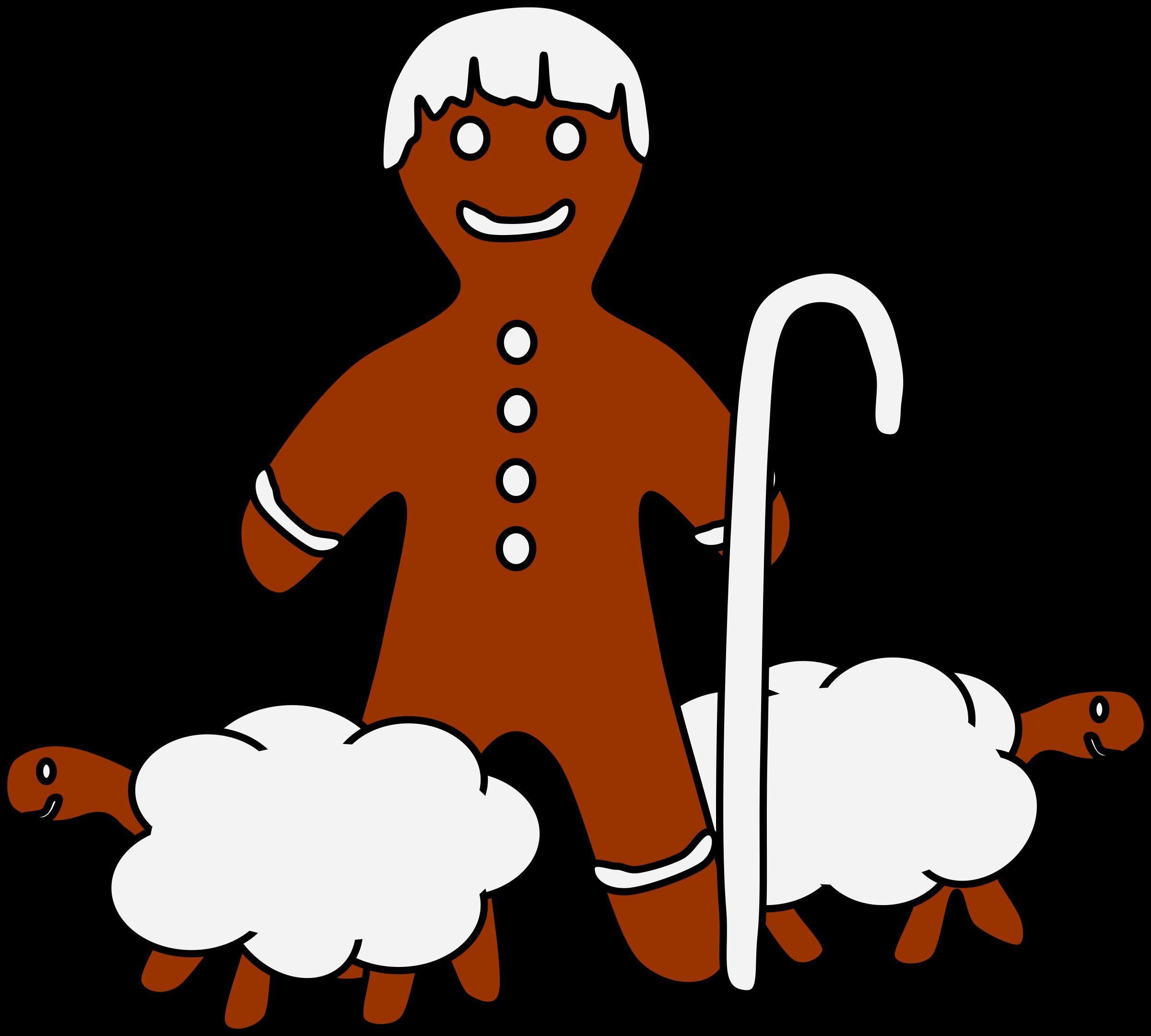 Clipart sheep man. Gingerbread shepherd big image