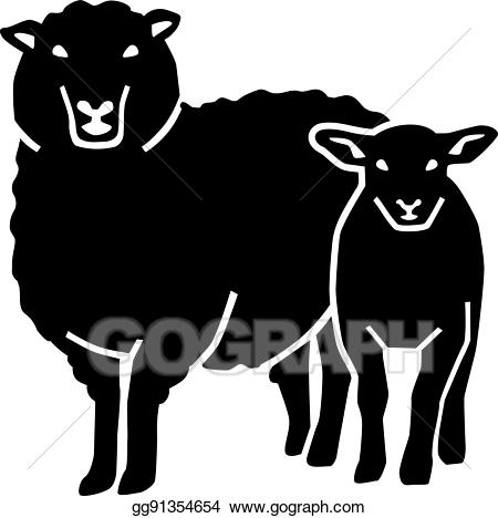 Lamb clipart mother. Eps illustration sheep with