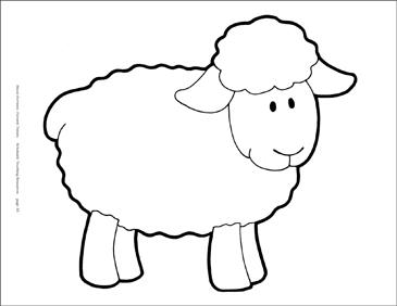 Clipart sheep printable. B w reproducible pattern