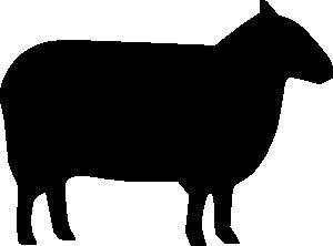 Sheep clip art vector. Lamb clipart silhouette