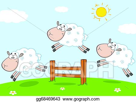 Lamb clipart sheep jump. Vector art three funny