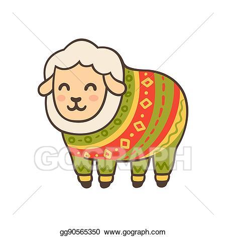 Vector art in sweater. Sheep clipart winter