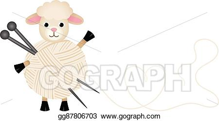 Vector illustration with wool. Clipart sheep yarn