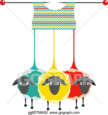 Clipart sheep yarn. Vector illustration three knitting