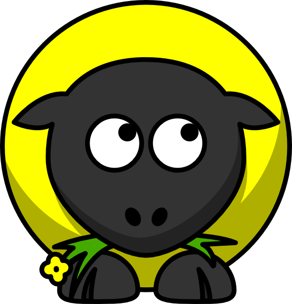 Yellow looking right down. Sheep clipart shee