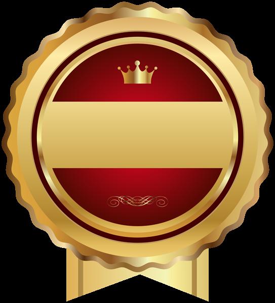 Red gold seal badge. Einstein clipart hint