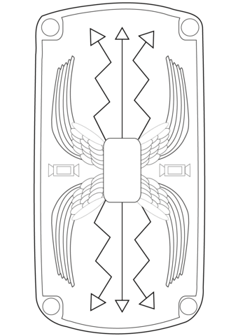 Clipart shield coloring. Roman page free printable