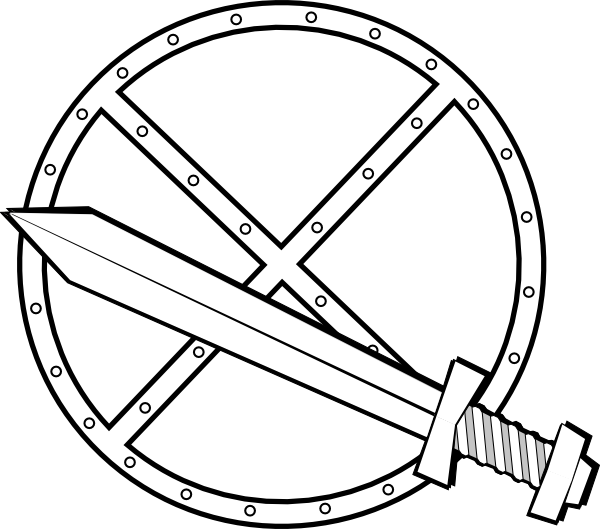 Jonadab round sword and. Clipart shield colour