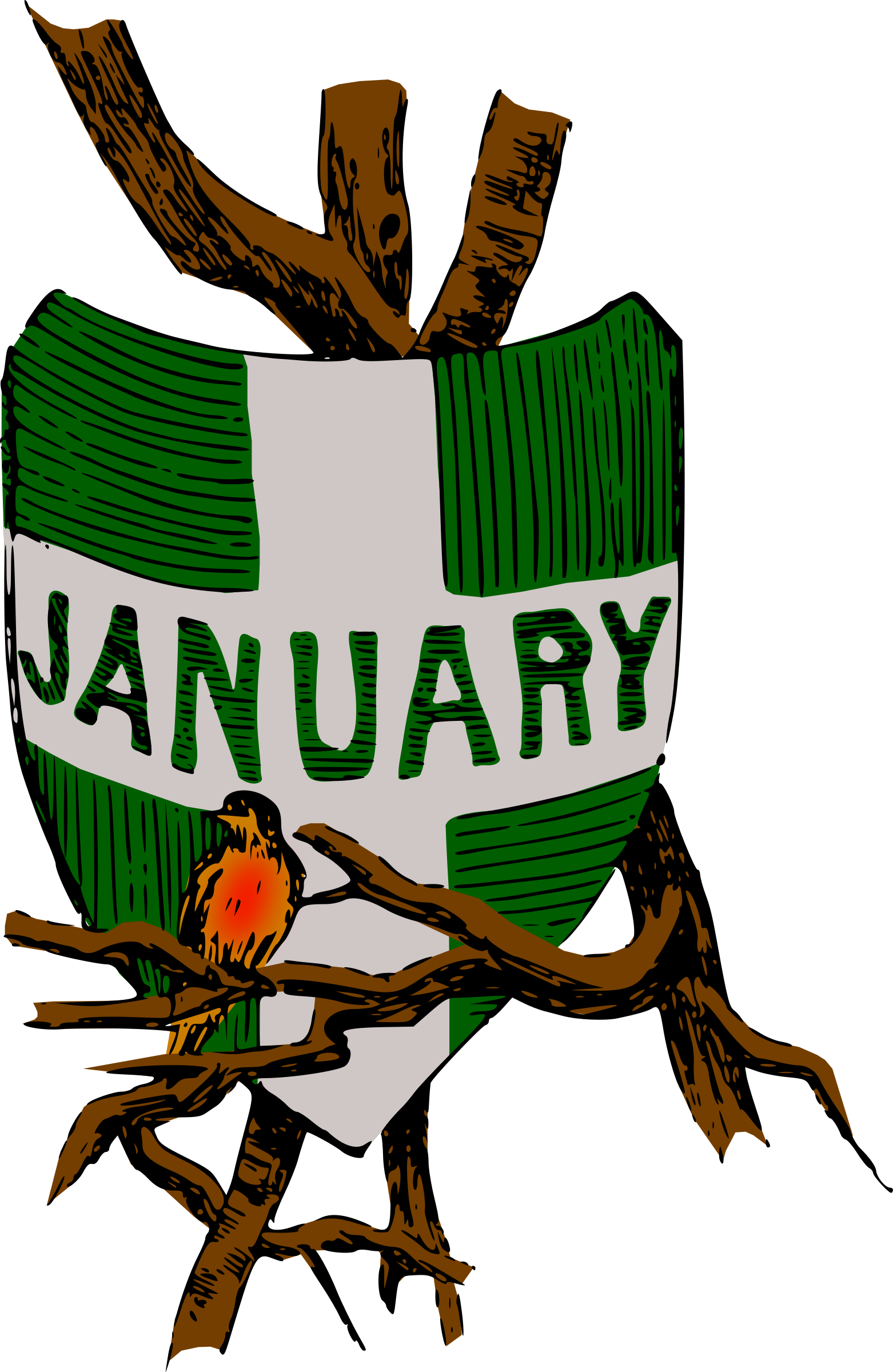 Clipart shield colour. Illustrated months january big