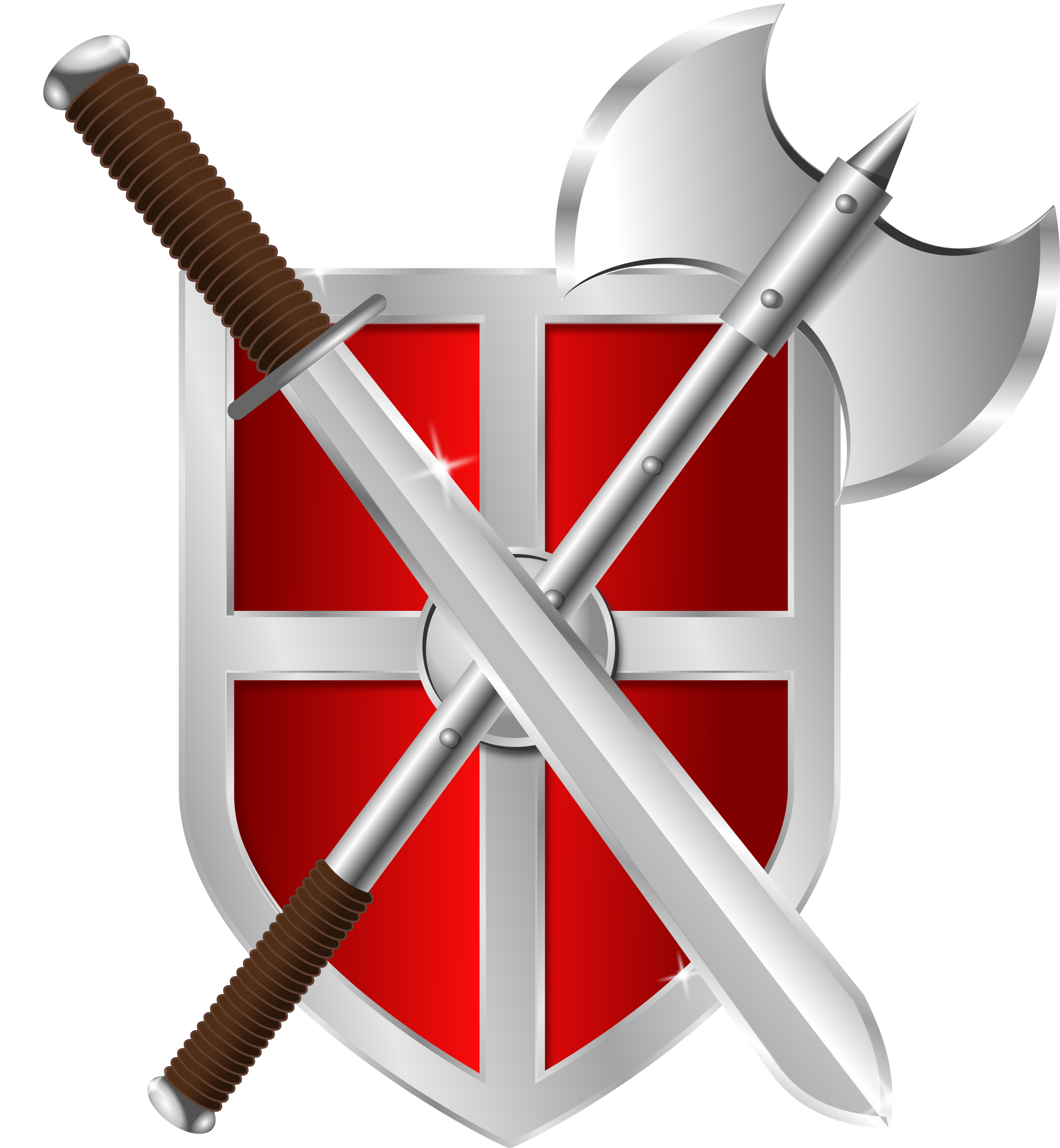 Clipart shield metallic. Sword battleaxe big image