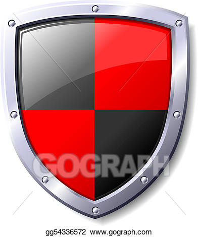 Clipart shield red black. Vector illustration and stock