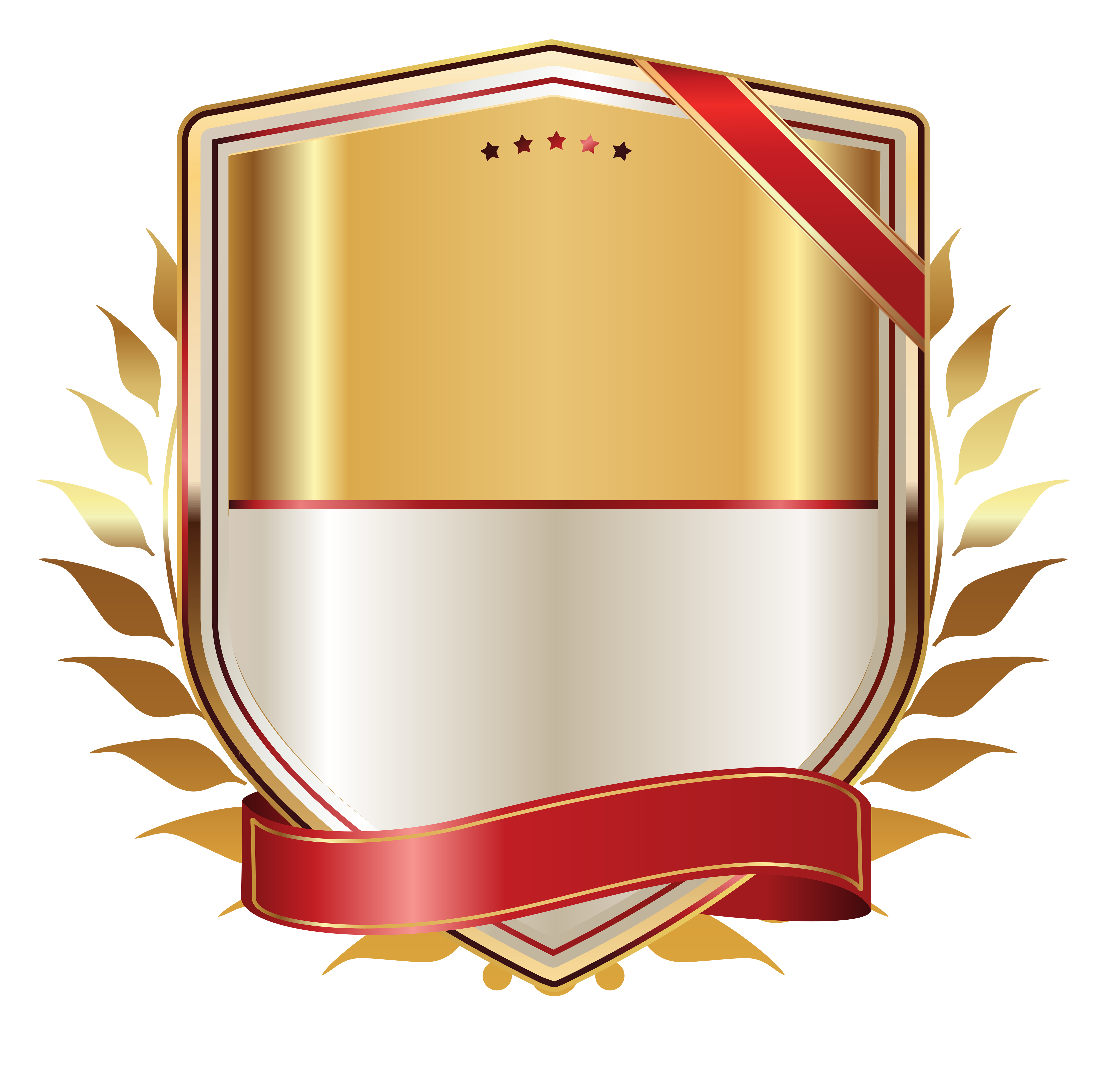 Golden label with gold. Clipart shield ribbon