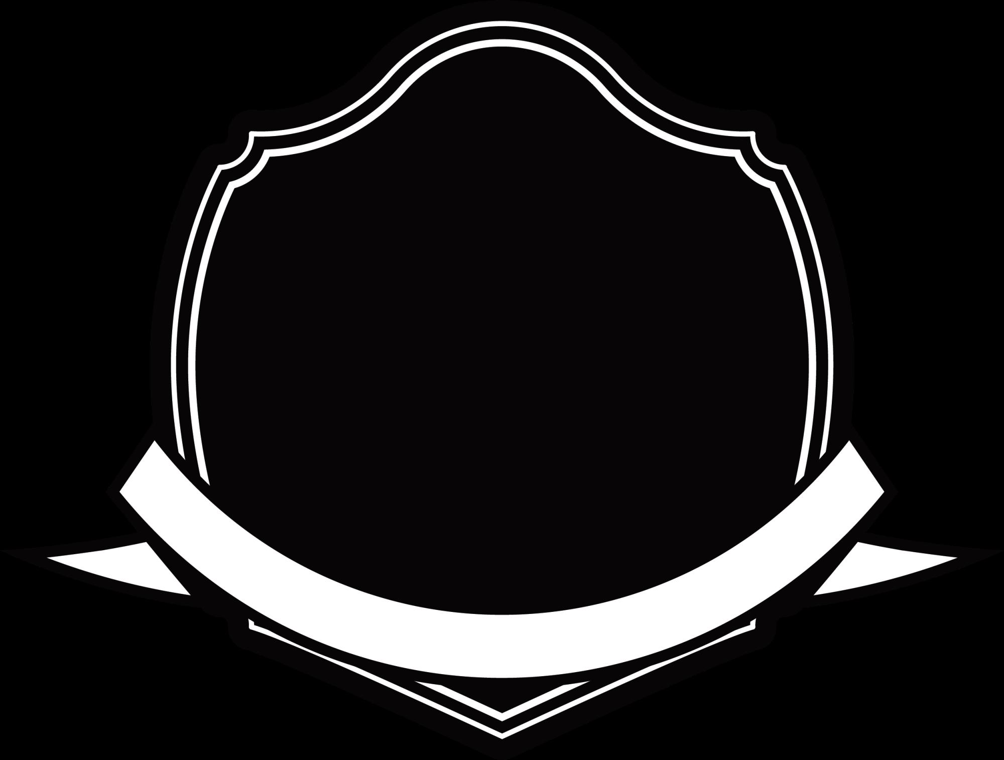 Black and white transprent. Clipart shield ribbon