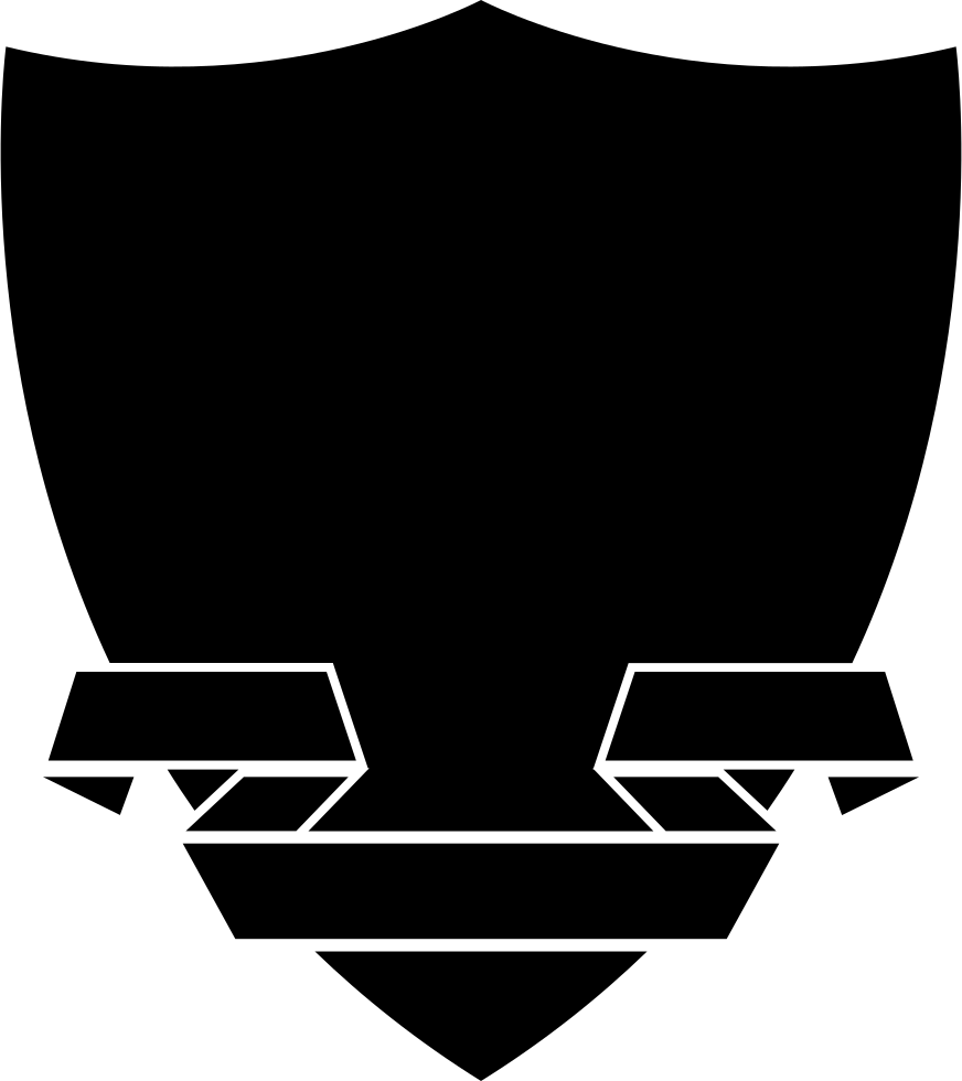 Clipart shield ribbon. With a in black