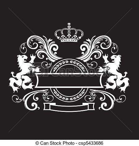 Vector vintage royal stock. Clipart shield royalty