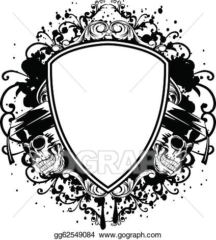 Vector art skulls in. Clipart shield skull