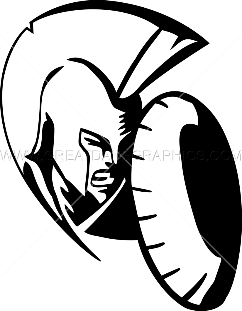 Warrior clipart warrior spartan. Head with shield production