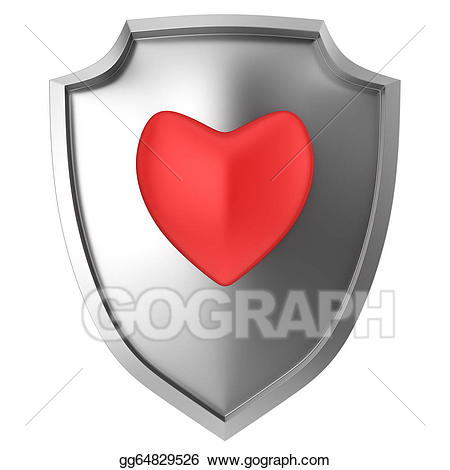 Clipart shield steel. Stock illustration red heart