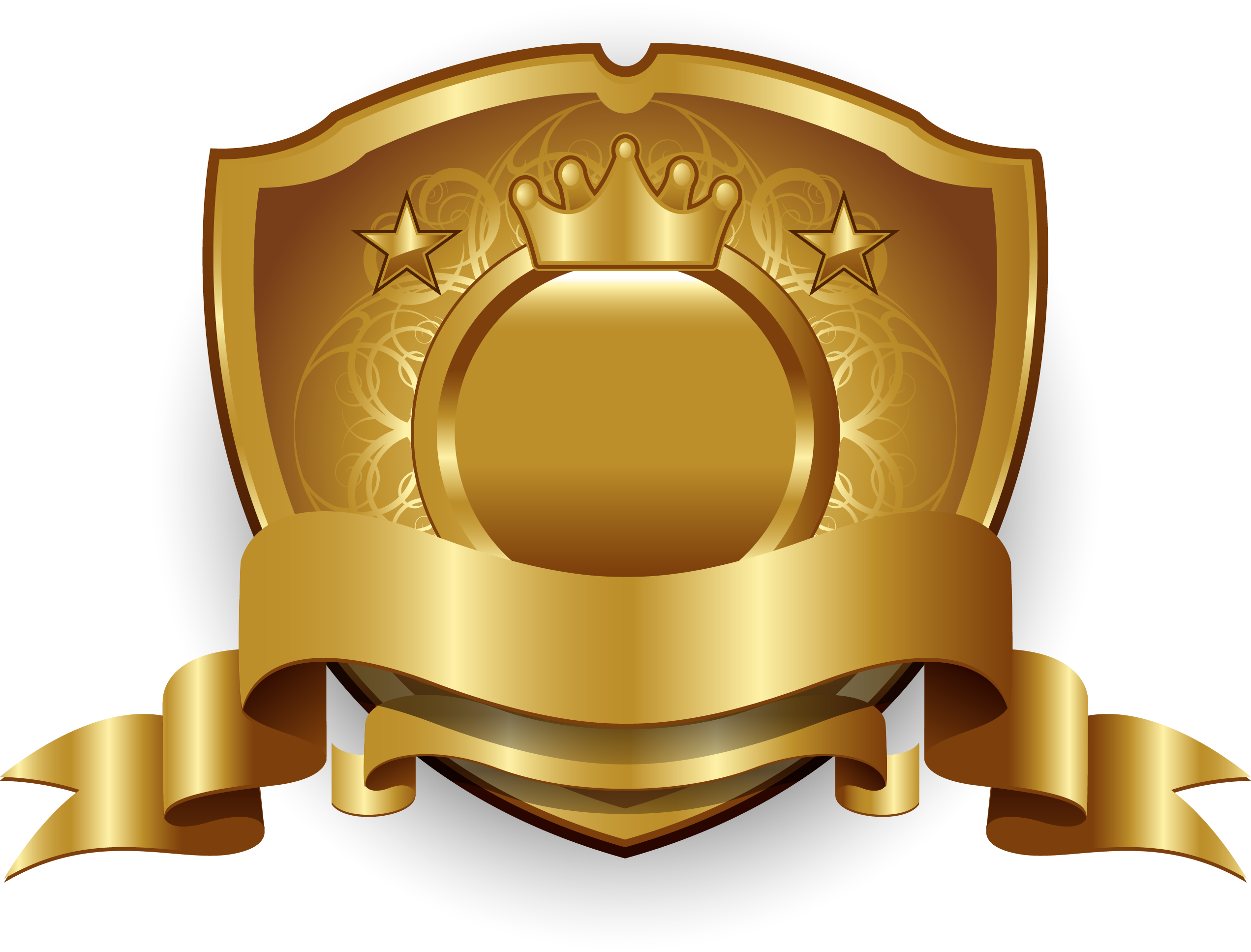 Gold golden label badge. Clipart shield trophy
