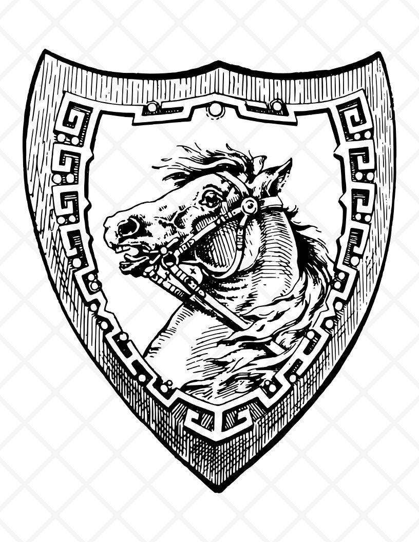 Horse and illustration drawing. Clipart shield vintage