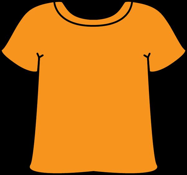 T shirt clip art. White clipart orange