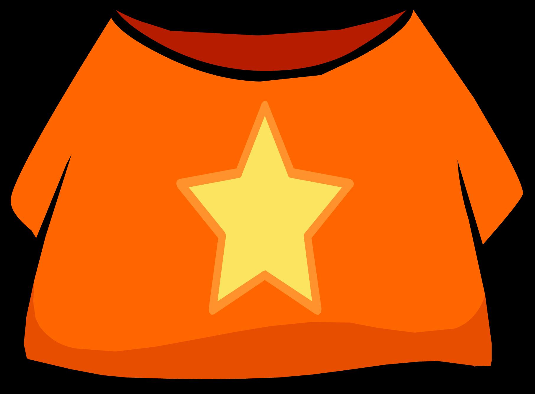 Star t club penguin. Clipart shirt orange shirt