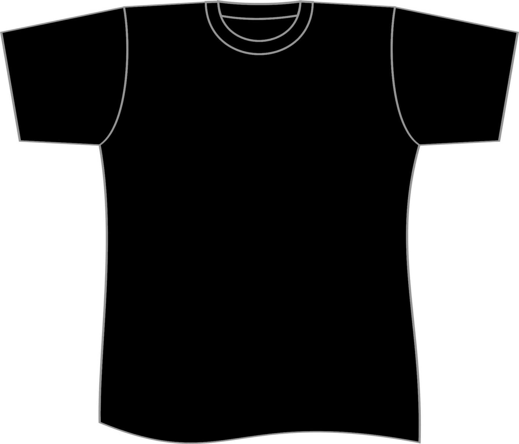 T plain black template. Clipart shirt vector