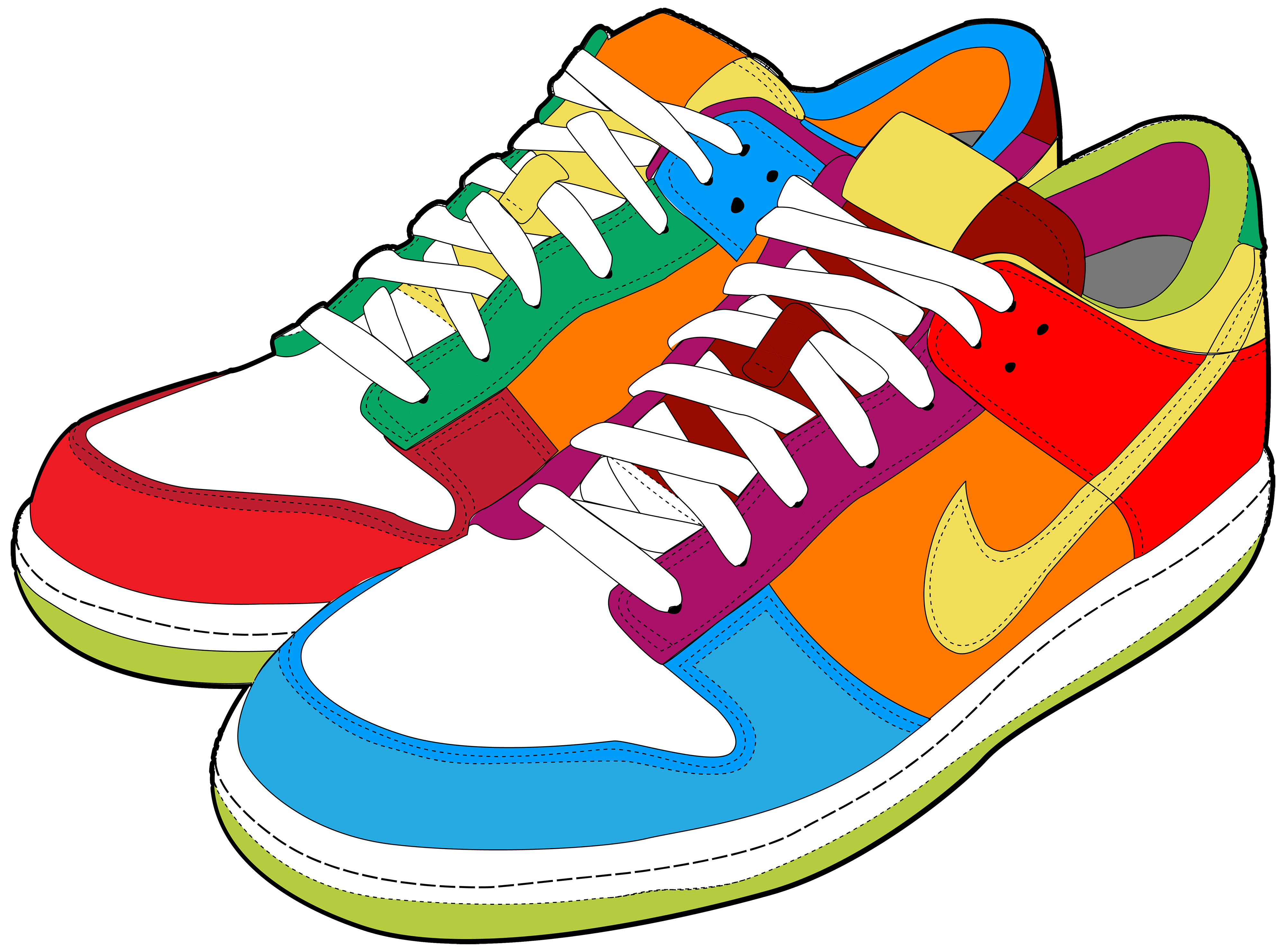 Clipart shoes. Colorful sneakers png best