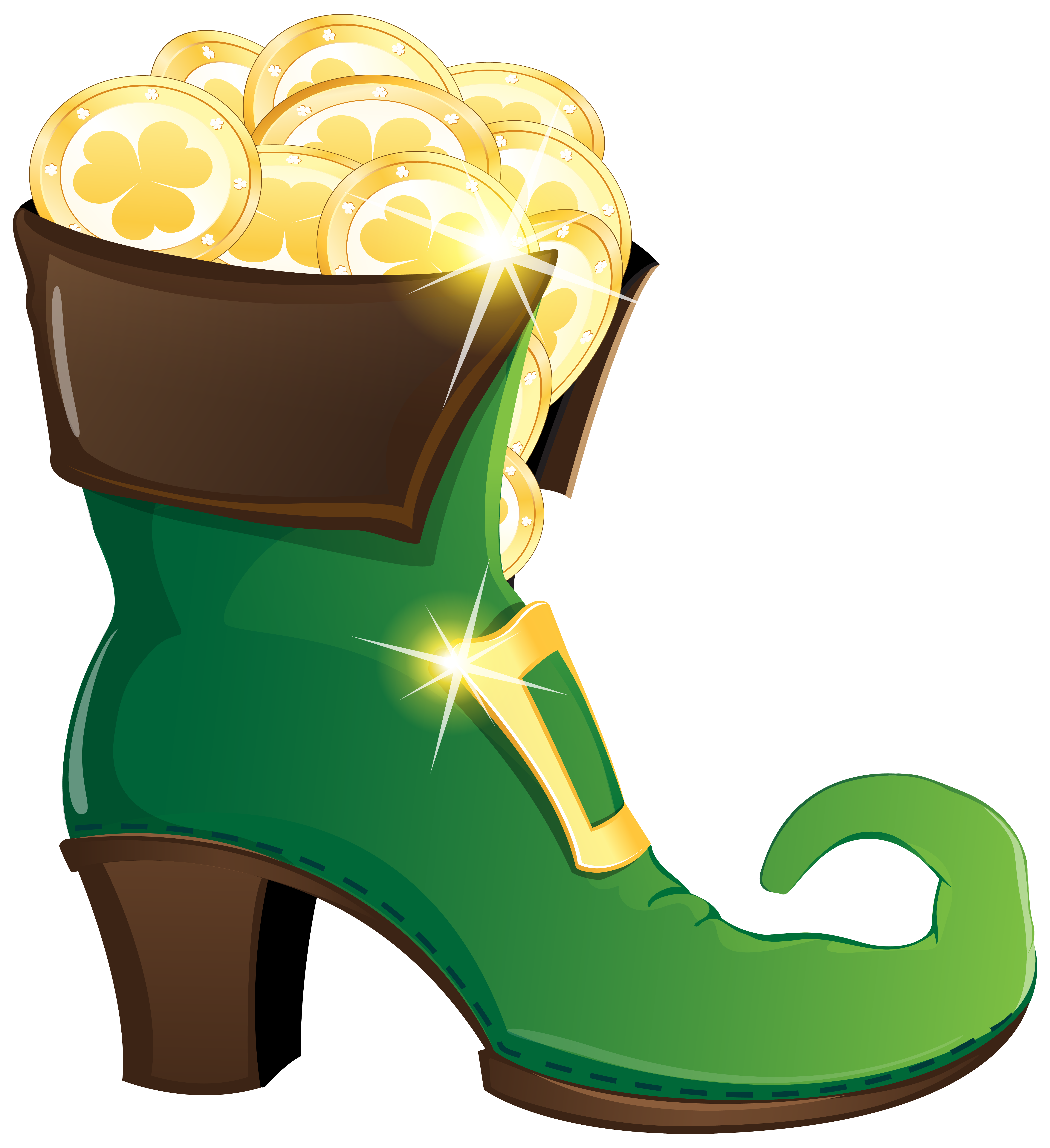 Coin clipart leprechaun gold. Shoe with coins png