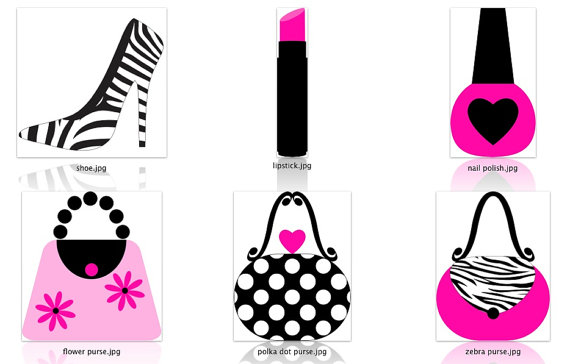 Graphic design hot pink. Girly clipart diva