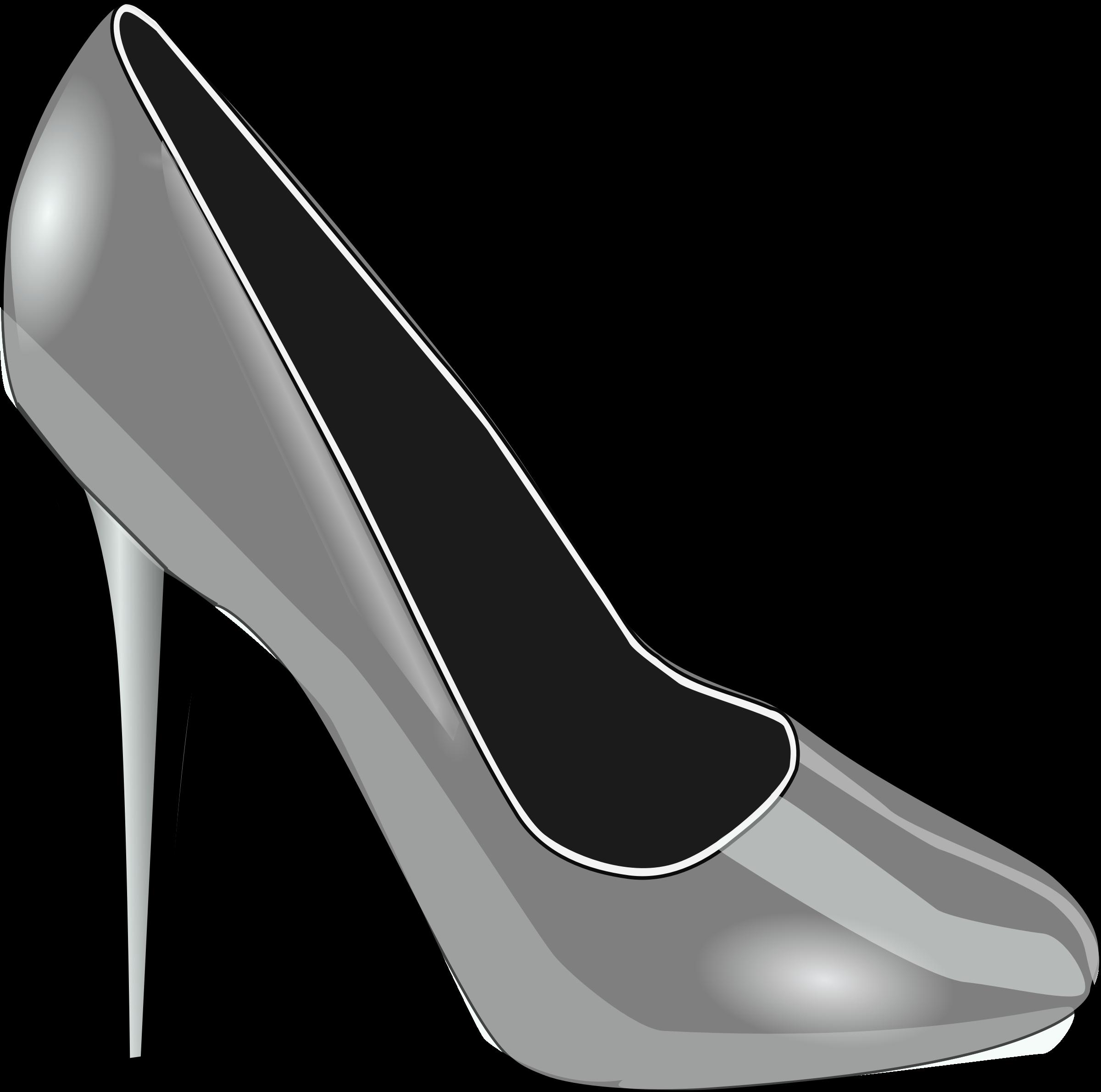 Silver shoe big image. Heels clipart high heal