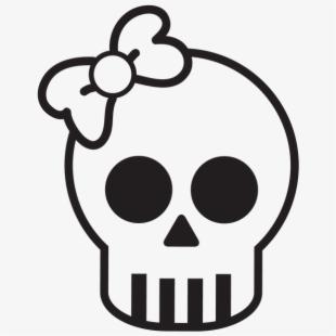 Skull drawing for halloween. Clipart skeleton bow