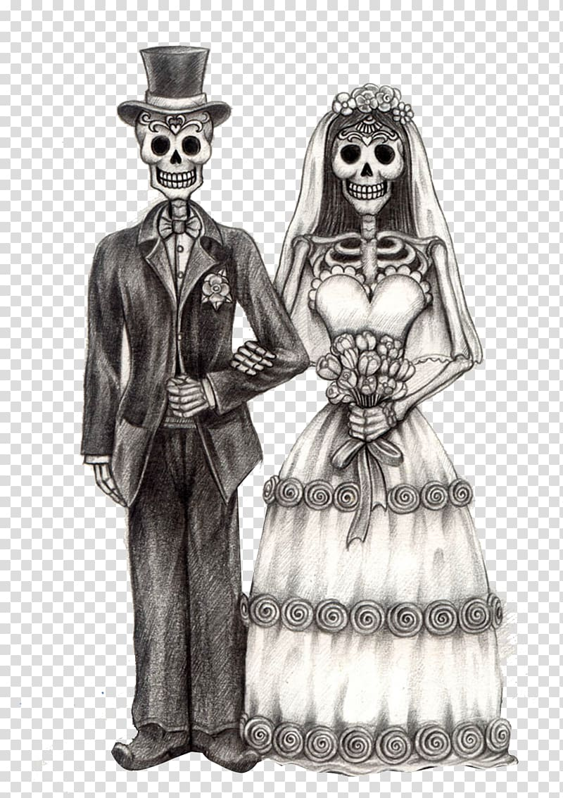 Groom and bride illustration. Clipart skeleton couple