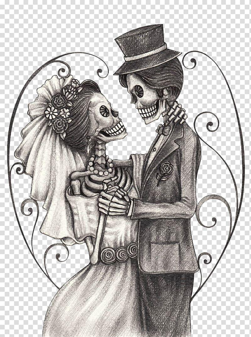 Clipart skeleton couple. Illustration calavera day of