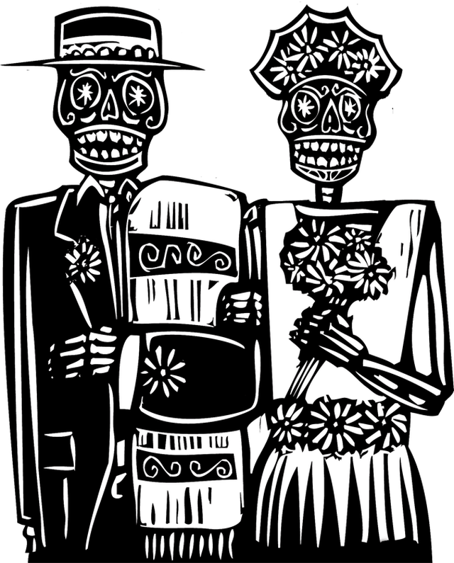 Pencil and in color. Clipart skeleton couple
