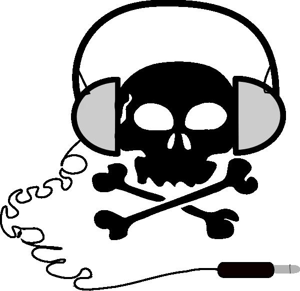 Skull clip art at. Headphone clipart black and white