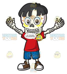 Clipart skeleton day the dead. Of a young boy