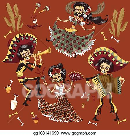 Clipart skeleton day the dead. Vector stock of mexican