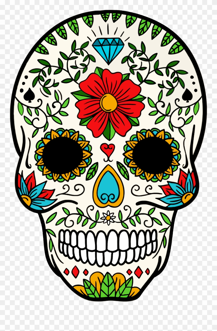 Big image of skull. Clipart skeleton day the dead