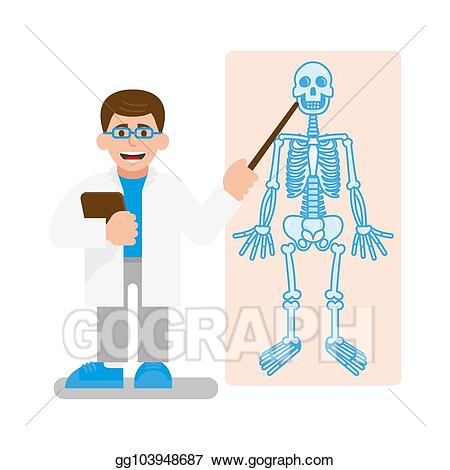 Clipart skeleton doctor. Vector art show on