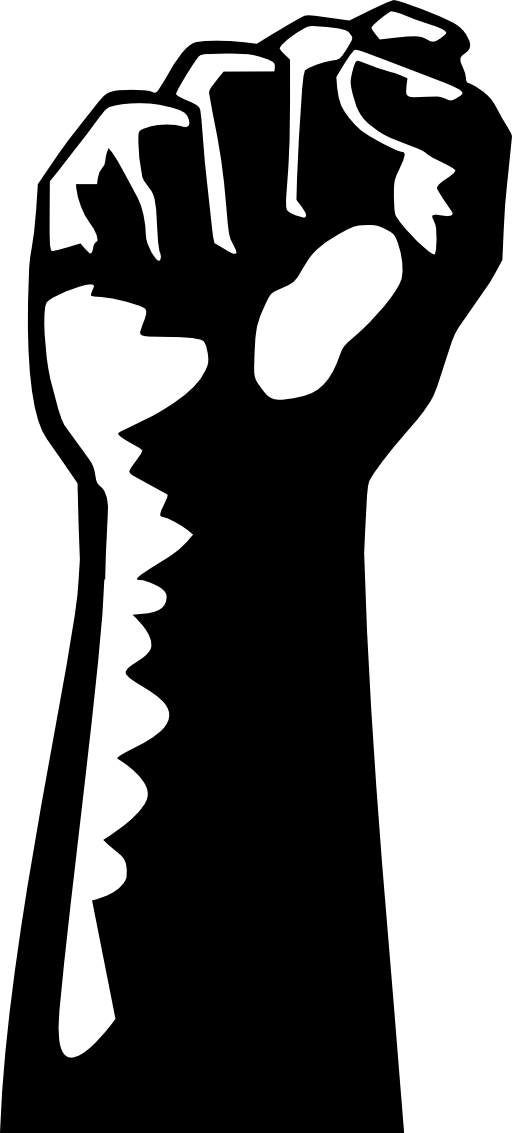 Workers fist x silhouette. Positive clipart correctness